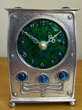 Archibald Knox  AK48 Blue Green Enamelled Pewter Clock